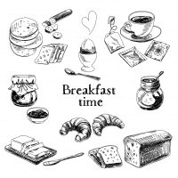 43333179 - vector breakfast hand drawn set. vintage illustration. sketch.