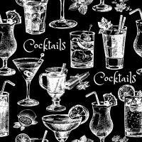 46605204 - hand drawn sketch cocktails seamless pattern